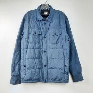 32 Heat Zip Up Puffer Jacket Snap Blue Pockets M